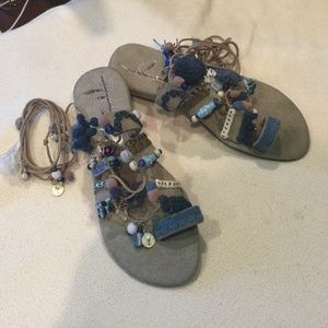 Free People Thaikila Boho Blue Sandals